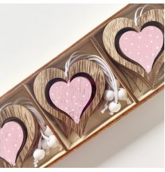 Sweet wooden hanging heart decoration approx 6 x 6 cm, sold as a pack of 6