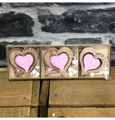 6 pack of charming hanging wooden heart decorations measuring approx 6 x 6 cm