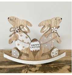 A charming rabbit rocker decoration with a Happy Easter egg sign. Key features include jute string bows and wood flowers