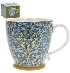 A stylish breakfast mug decorated with a popular William Morris motif.