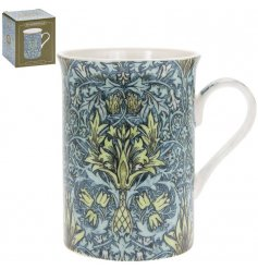 A fine quality mug with a popular William Morris design in attractive green and blue colours.