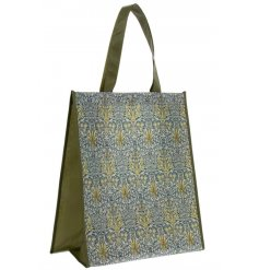A fine quality re-usable shopping bag with a beautiful William Morris print in attractive green and blue colours.