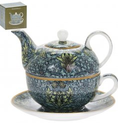 A fine quality tea for one set decorated with a beautiful William Morris snakeshead print. Complete with picture giftbox