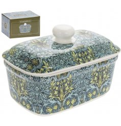 A fine quality ceramic butter dish with a popular William Morris Snakeshead print in green and blue colours.