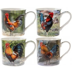 An assortment of 4 fine quality colourful cockerel mugs, each with an individual gift box.
