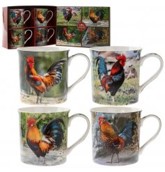 A set of 4 fine quality colourful cockerel mugs with picture gift box.
