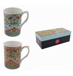 A set of 2 fine quality mugs with a Strawberry Thief print designed by William Morris.
