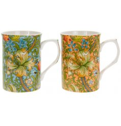 A set of 2 fine quality mugs with a bright and beautiful Golden Lily design. Complete with colour gift box.