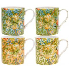 A set of 4 fine quality mugs with a colourful Golden Lily print. Complete with picture gift box.