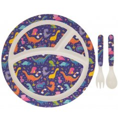 Make meal times fun with this kids dinosaur dinner set including plate, fork and spoon.