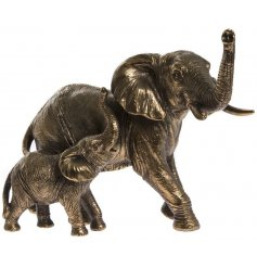 A beautifully detailed bronze ornament featuring Elephant and calf.