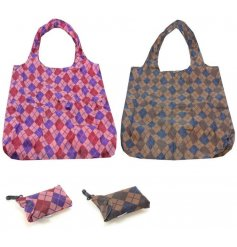A mix of 2 stylish fold away clip bags in bold and neutral diamond designs.