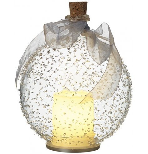A stunning glass bauble which encases an LED candle. Complete with a cork stopper and organza ribbon.