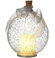 A stunning glass bauble with a light up candle inside. Complete with a textured surface, cork stopper and organza ribbon