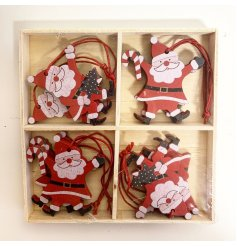 A pack of 8 traditional wooden Santa decorations in 2 assorted designs, including candy canes and trees.