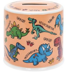 A cute little ceramic money box covered with a Little Stars dinosaur print