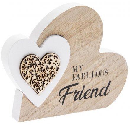 15cm Wooden Heart Block - Fabulous Friend