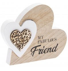 A natural wooden heart block with a scripted text decal and smaller white heart block centre