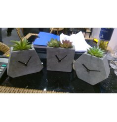 A mix of shaped Concrete Clocks with added potted artificial succulents