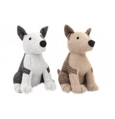 An adorable duo of sitting dog door stops with assorted fabric patch decals