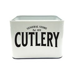 Part of the ever so popular General Store Kitchenware Range, this simple square cutlery box will tie in with any themed