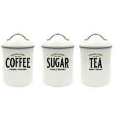 Set with a basic white tone and block text, these General Store themed tea