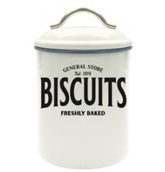 Set with a basic white tone and block Biscuit text, this General Store themed canister is perfect for any kitchen