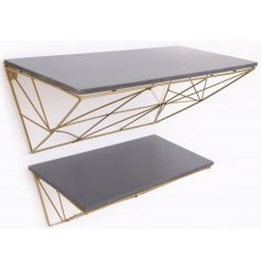 Set with an Art Deco inspired edge, this set of Geometric Wire Shelves features golden tones and added grey accents