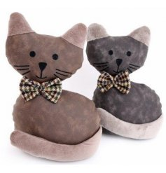 Assorted by their Grey and Brown Faux Leather decals, these cute sitting Cat Doorstops also have charming bow ties