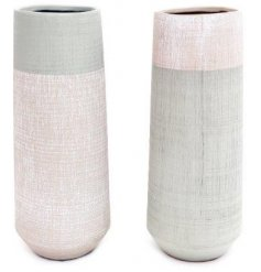Assorted by their inverted colour tones, these tall vases feature an additional crackle inspired decal