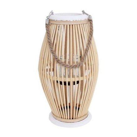 Bamboo Wood Diamond Lantern, 38cm