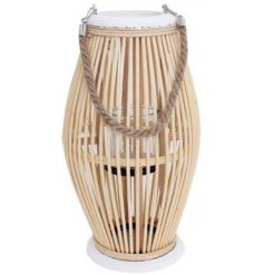 A large wooden surround lantern with a chunky rope handle and diamond shape decal