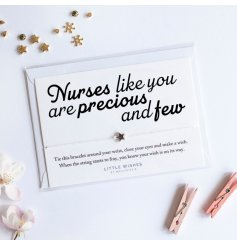 Nurses like you are precious and few. A lovely sentiment Little Wishes bracelet with star charm. The perfect way to say