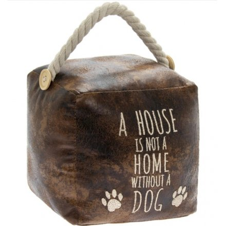 Home Dog Doorstop, Faux Leather