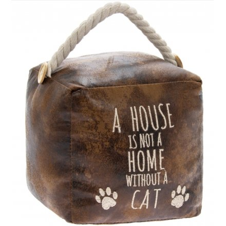 Cat Embroidered Doorstop, Faux Leather