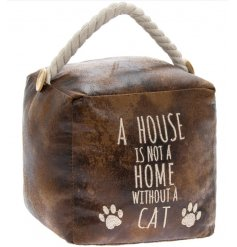 A rustic faux leather doorstop with an embroidered cat slogan, chunky rope handle and button details.
