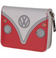 A red Volkswagen inspired purse with the vintage campervan look