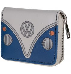 Complete with a metal zip around feature, this quirky Blue Camper Van purse is perfect for keeping loose change and not