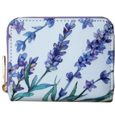 A small zip up purse with a pretty purple tone and lavender print decal