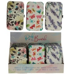 An assortment of floral and botanical themed manicure sets