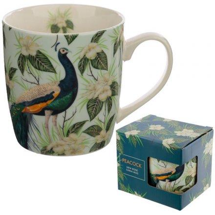 Delicate Peacock China Mug, 12cm