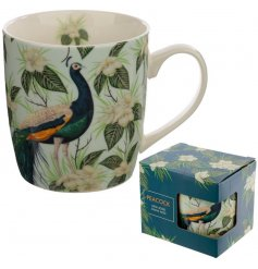 A Fine China Mug covered with a delicate Peacock decal