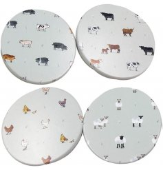 A set of 4 round coasters, each decorated with a Willow Farm inspired decal
