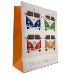 A great way to give gifts during any event or occasion, this gift bag is covered with a quirky Camper Van Decal