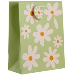 Decorated with a pretty Daisy print, this green toned gift bag is perfect for gift giving during any event