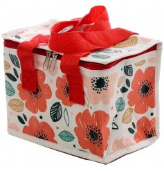 A charming fabric lunch bag with an added cooler centre and a pretty poppy design