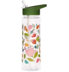A beautifully decorated water bottle set with an Autumnal inspired decal