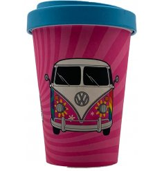 An eco friendly bamboo travel mug with a retro campervan printed decal around it and additional bamboo cap lid