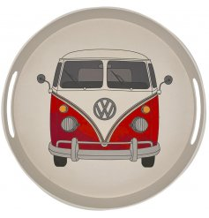 A large round bamboo tray featuring a Retro Red Volkswagen Camper Van themed printed decal