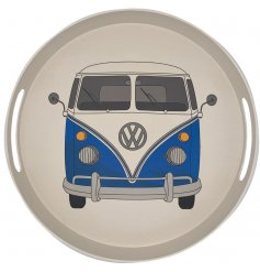A large round bamboo tray featuring a Retro Blue Volkswagen Camper Van themed printed decal